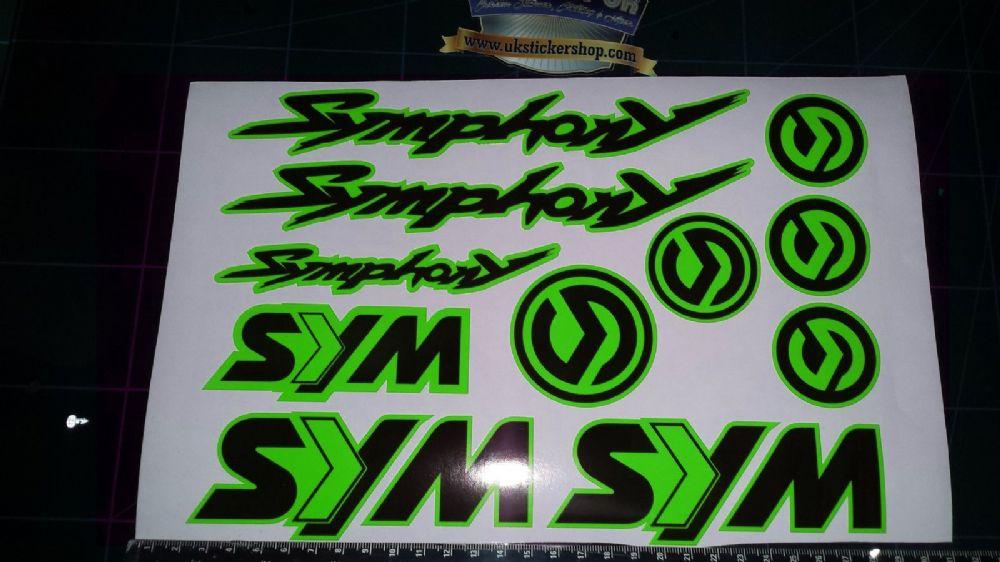 Sym Symphony Stickers Decals Green Amp Black 11 Piece